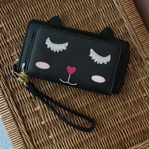 Betsy Johnson cat wallet black